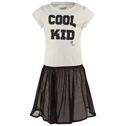 SuperTrash Off White Jersey Cool Kid Dress with Zip Net Removable Skirt