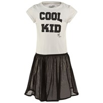 SuperTrash Off White Jersey Cool Kid Dress with Zip Net Removable Skirt Black / White