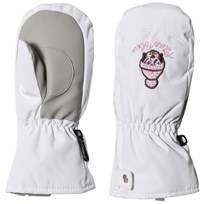 Poivre Blanc White Infants Ski Mittens with Embroidery 0001