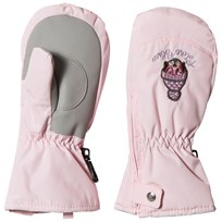 Poivre Blanc Pale Pink Ski Mittens with Embroidery 0032
