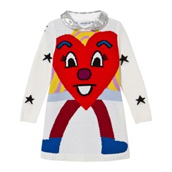 Simonetta Knit Heart and Star Jumper Dress with Detachable Sequin Collar in White