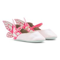 Sophia Webster Mini Chiara Mini Pink Glitter Buytterfly Crib Shoes Fluro Pink