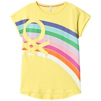 United Colors of Benetton Graphic Print Logo Tee Yellow Yellow