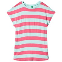 United Colors of Benetton Stripe Jersey Tee Aqua/Pink Aqua Pink
