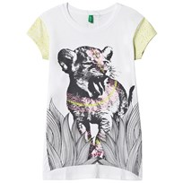 United Colors of Benetton Lion Print Jersey Tee White White