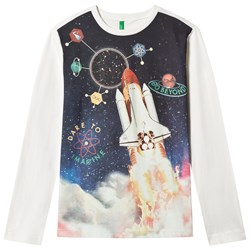 United Colors of Benetton Long Sleeve Space Print T-Shirt White