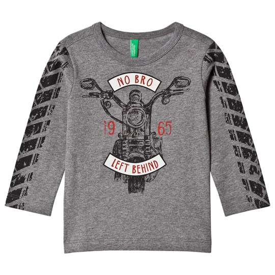 United Colors of Benetton Long Sleeve Motorbike T-Shirt Mid Grey Mid Grey