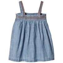 United Colors of Benetton Loose Fit Denim Dress With Embroidered Straps Blue Blue