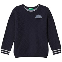 United Colors of Benetton Textured Knit L/S Jumper With Printed Pocket Detail Navy Navy