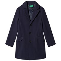 United Colors of Benetton Wool Overcoat Navy Marinblå
