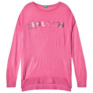 Image of United Colors of Benetton L/S Knit Sequins Logo Boxy Fit Sweater Pink XS (4-5 år) (2839671887)