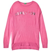United Colors of Benetton L/S Knit Sequins Logo Boxy Fit Sweater Pink Pink