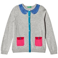 United Colors of Benetton L/S Knit Cardigan With Contrast Colour Details & Sequins Coller Light Grey Light Grey