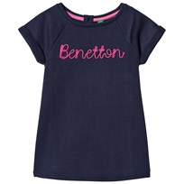 United Colors of Benetton S/S Sweater Dress With Knit Logo Navy Navy