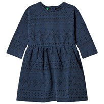 United Colors of Benetton L/S Woven Print Skater Dress Navy Navy