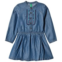 United Colors of Benetton L/S Denim Dress With Embroidered Details Blue Blue