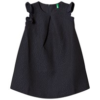 United Colors of Benetton Frill Sleeve Textured A Line Dress Navy Navy