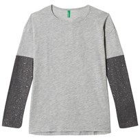 United Colors of Benetton Light Grey Long Sleeve A-line T-Shirt with Wing Print Back Light Grey