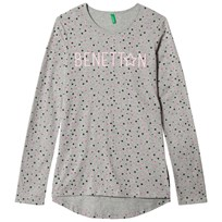 United Colors of Benetton L/S Star Print Logo T-Shirt Grey Black