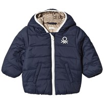 United Colors of Benetton Hooded Puffa Jacket With Logo Navy Marinblå