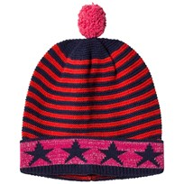 United Colors of Benetton Stripe Knit Bobble Hat Navy Multi NAVY MULTI