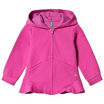 United Colors of Benetton Jersey Hoodie With Peplum Finish Grey Black