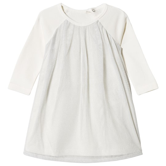 United Colors of Benetton L/S Jersey A Line Dress With Tulle Overlay White White