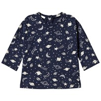 United Colors of Benetton L/S Cat Space Print T-Shirt Navy Marinblå