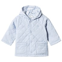 United Colors of Benetton Hooded Quilted Barn Jacket with Logo Light Blue Light Blue
