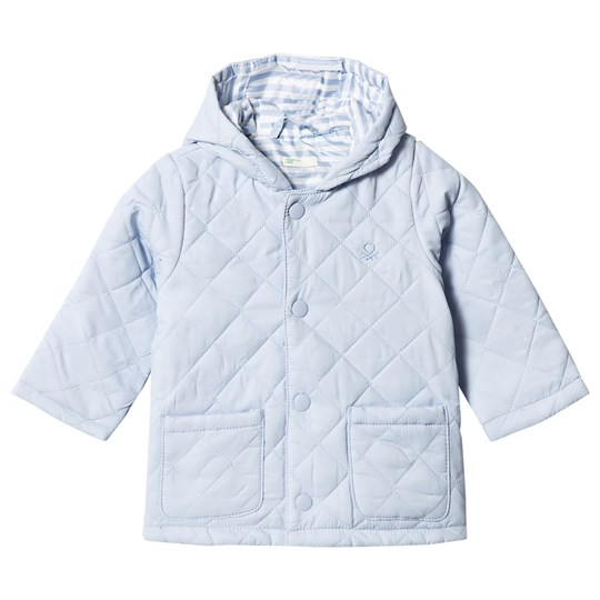 United Colors of Benetton Quilted Barn Hodded Puffa Coat Light Blue Light Blue