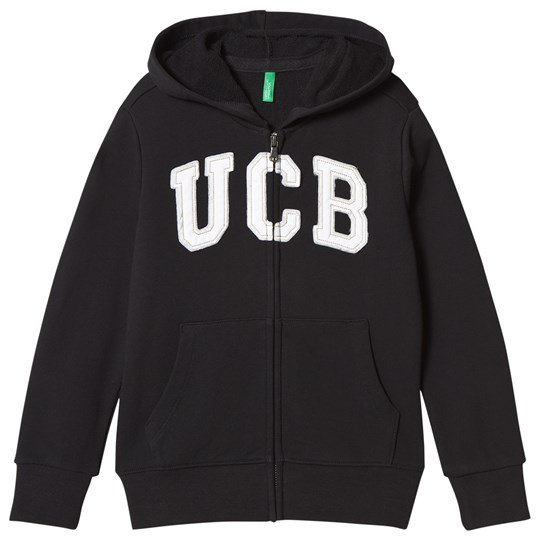 United Colors of Benetton Jersey Logo Zip Huvtröja Svart Black