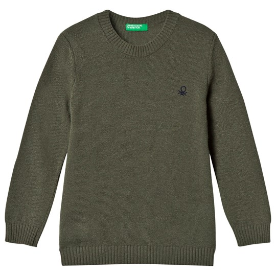 United Colors of Benetton Crew Neck Knit Jumper With Logo Khaki Khaki