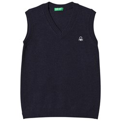 United Colors of Benetton Sleeveless V Neck Knit Body With Logo Navy