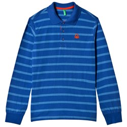 United Colors of Benetton Stripe L/S Polo T-Shirt Blue