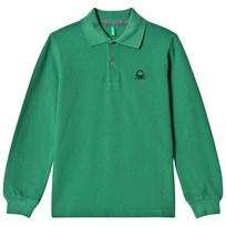 United Colors of Benetton L/S Pique Logo Polo T-Shirt Green Green