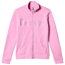 United Colors of Benetton Glitter Logo Zip Sweather Pink