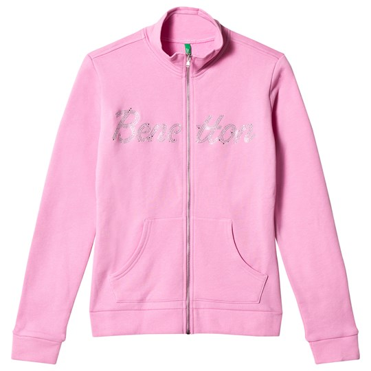 United Colors of Benetton Glitter Logo Zip Sweather Pink Pink