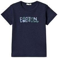 United Colors of Benetton Logo Tee Navy Marinblå