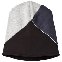 United Colors of Benetton Color Block Beanie Hat Grey/Navy/Black Grey Navy Black