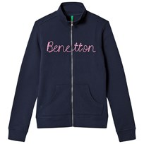 United Colors of Benetton Knit Logo Zip Sweater Navy Navy