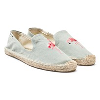 Soludos Flamingo Embroidery Smoking Slipper 420 FLAMINGO CHAMBRAY