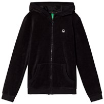 United Colors of Benetton Velure Zip Hoodie  Black Black