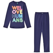 United Colors of Benetton We Love Humans Jersey Logo Sweater and Jogger set Marinblå