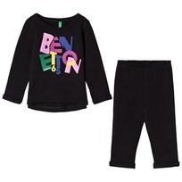 United Colors of Benetton Logo Sweater and Jogger Set Black Black