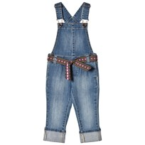United Colors of Benetton Washed Denim Dungaree With Embroidered Belt Blue Blue