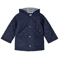 United Colors of Benetton Quilted Barn Hodded Puffa Coat Navy Marinblå