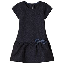United Colors of Benetton Textured S/S Dress With Peplum Skirt Navy Navy