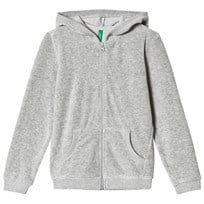 United Colors of Benetton Velure Zip Hoodie  Light Grey Light Grey