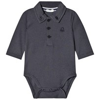 United Colors of Benetton Long Sleeve Button Down Collar Logo Baby Body Navy Navy
