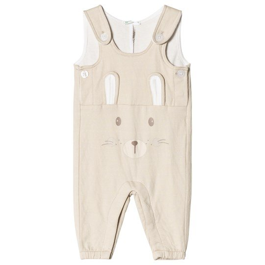 United Colors of Benetton Jersey Dungaree With Bunny Face Detail Beige Beige